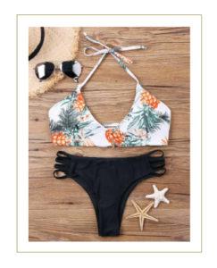Bikini con lacci bianco nero ananas