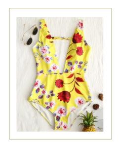 Costume intero giallo floreale