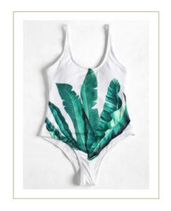 Costume intero bianco verde foglia di palma