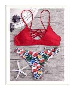 Bikini rosso tropicale